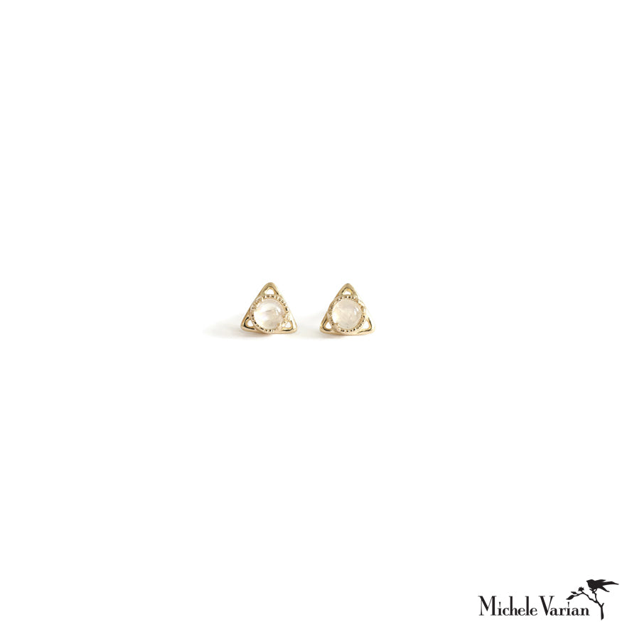 Pyramid Moonstone Gold Stud Earrings