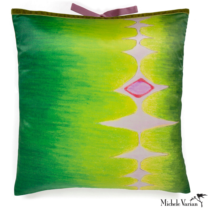 Silk Print Pillow Multi Spear Green 20x20