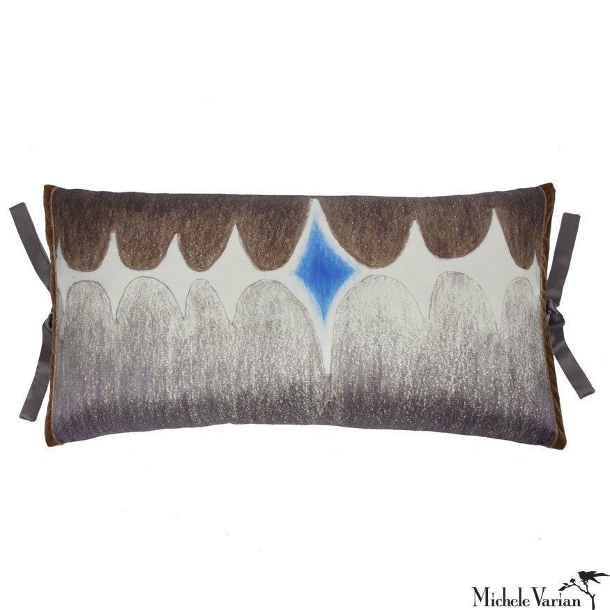 Silk Print Pillow Multi Spear Gray 12x22