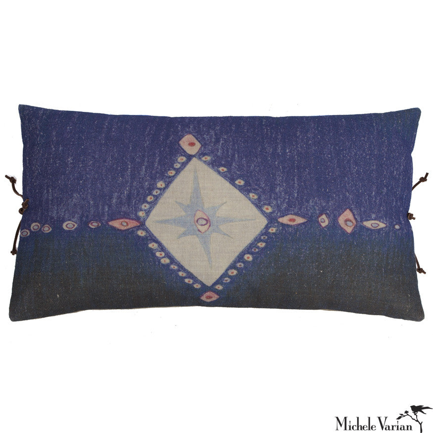 Printed Linen Pillow Multi Spear Indigo 12x22