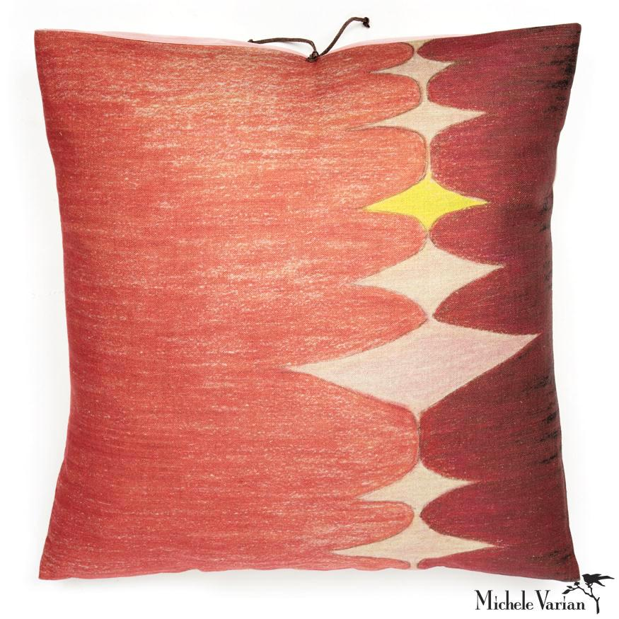 Printed Linen Pillow Multi Spear Pink 22x22