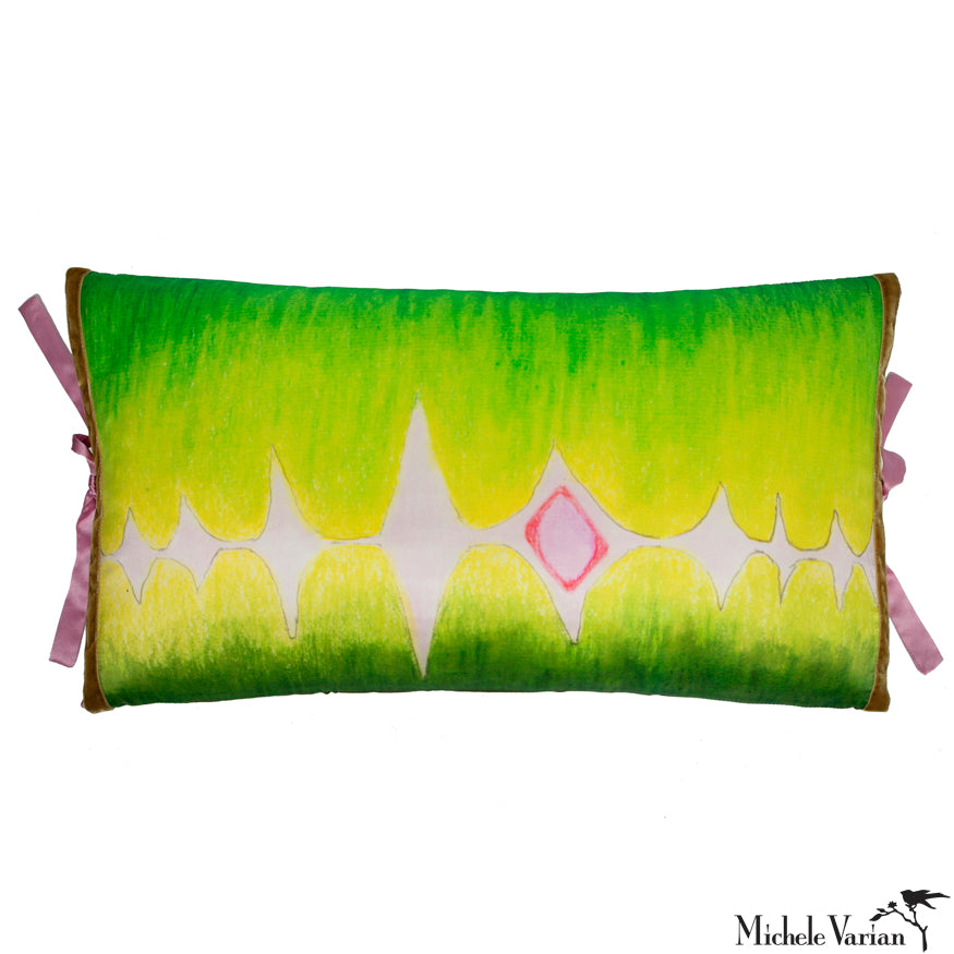 Silk Print Pillow Multi Spear Green 12x22