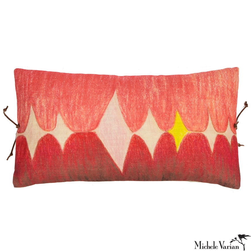 Printed Linen Pillow Multi Spear Pink 12x22