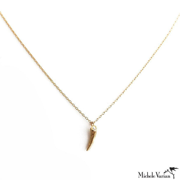 Gold Horn Necklace With Diamond Top