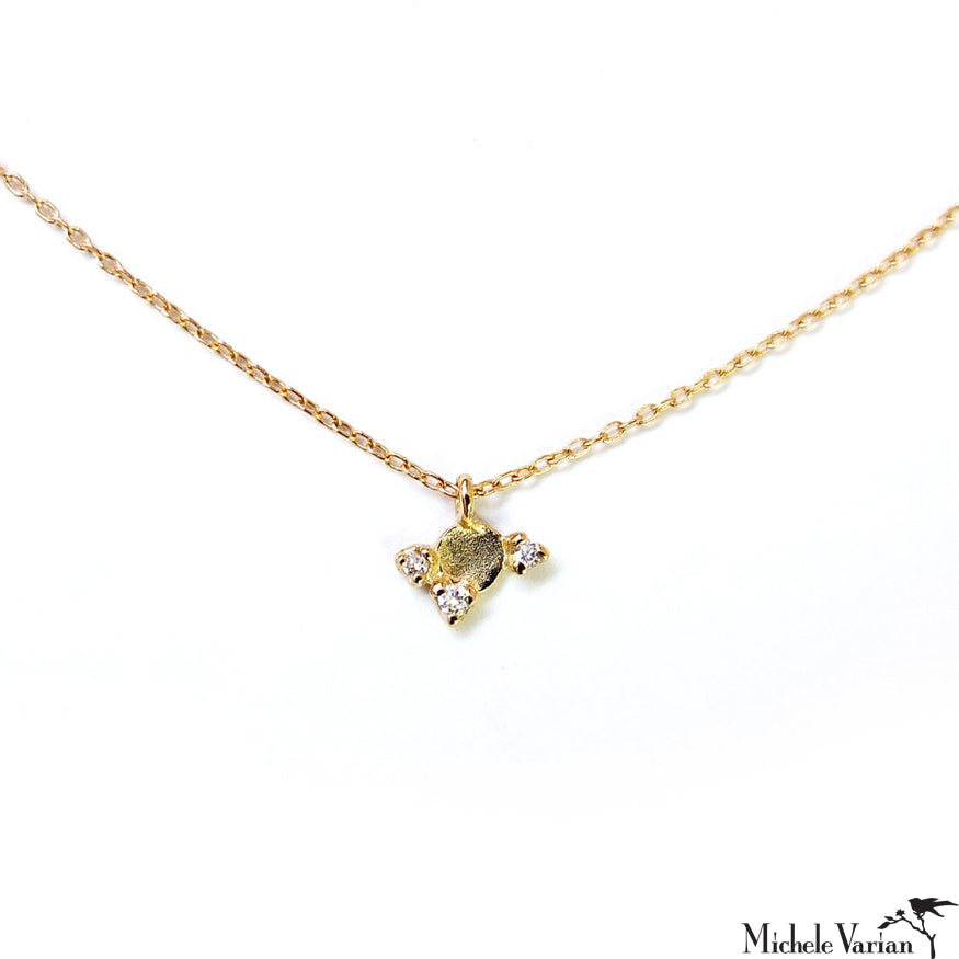 Tiny Gold Reflection with Diamonds Necklace