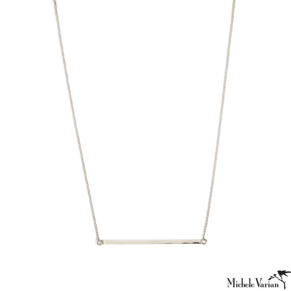 Silver Square Stock Bar Necklace