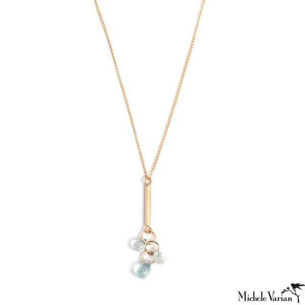 Gold Bar Drop Necklace with Blue Topaz