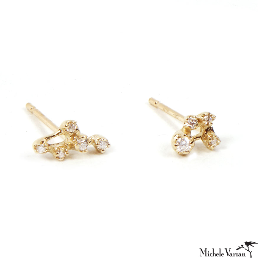 Gold and Diamond Cluster Studs