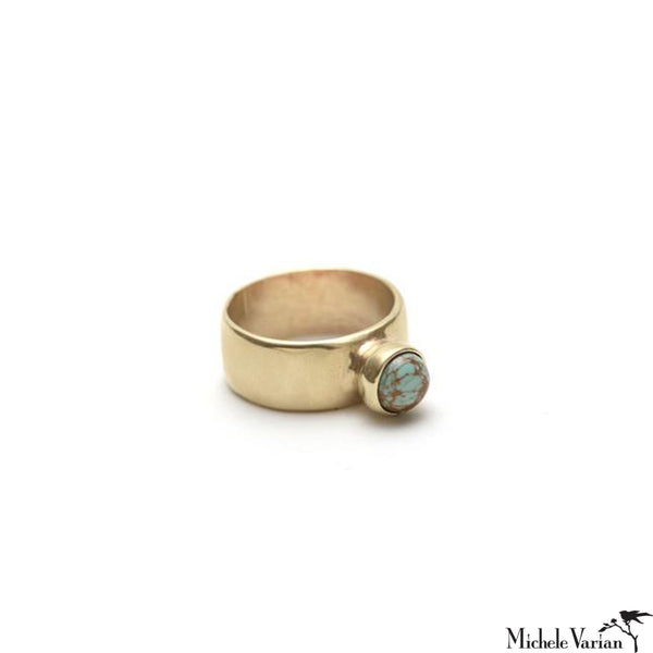 Brass Cigar Band Turquoise Ring