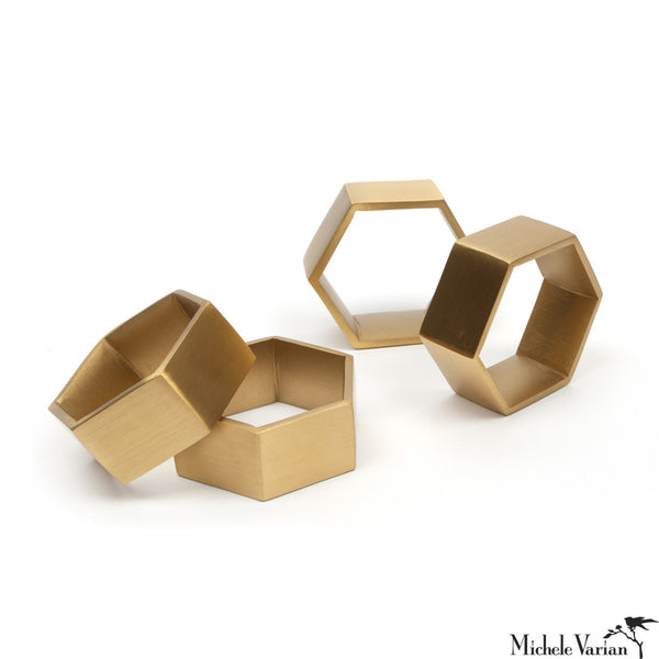 Brass Hexagon Napkin Rings