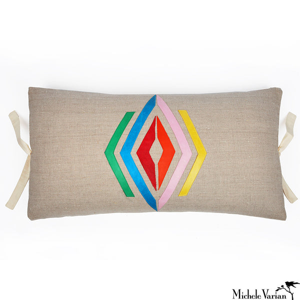 Linen Applique Pillow Navajo Multi 12x22