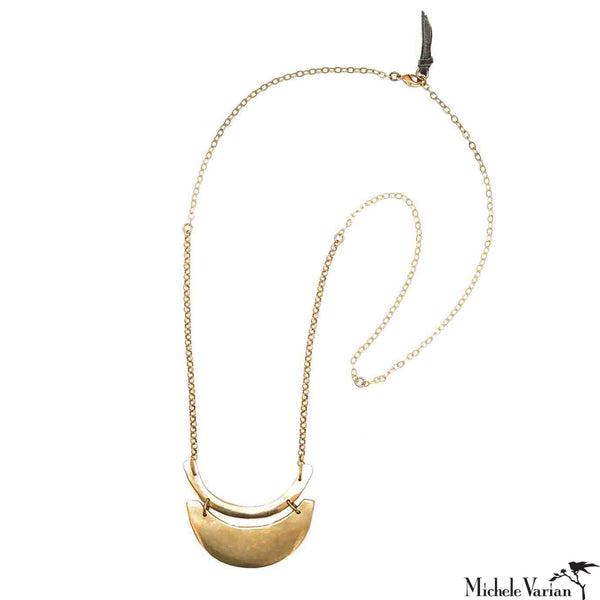 Brass Crescent Necklace with Pendants on Brass chain