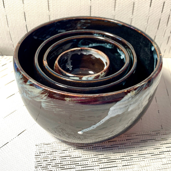 Black Blue Glaze Nesting Bowls - Set of 4
