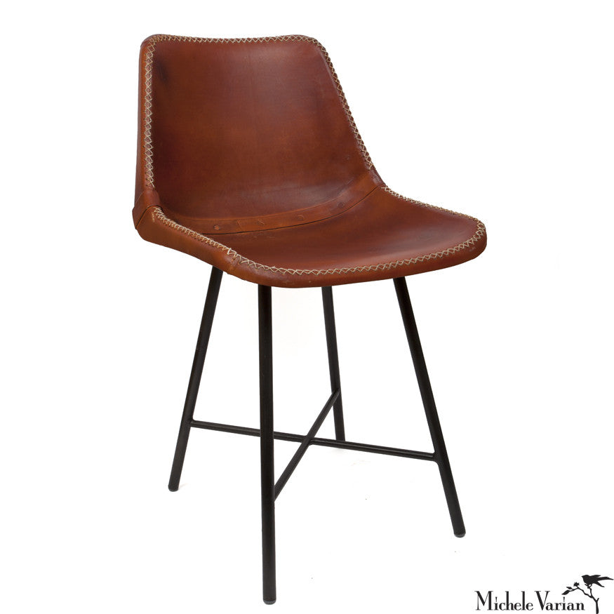 Leather School Chair with Black Base