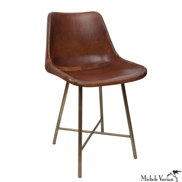 Leather School Chair with Brass Finish Base