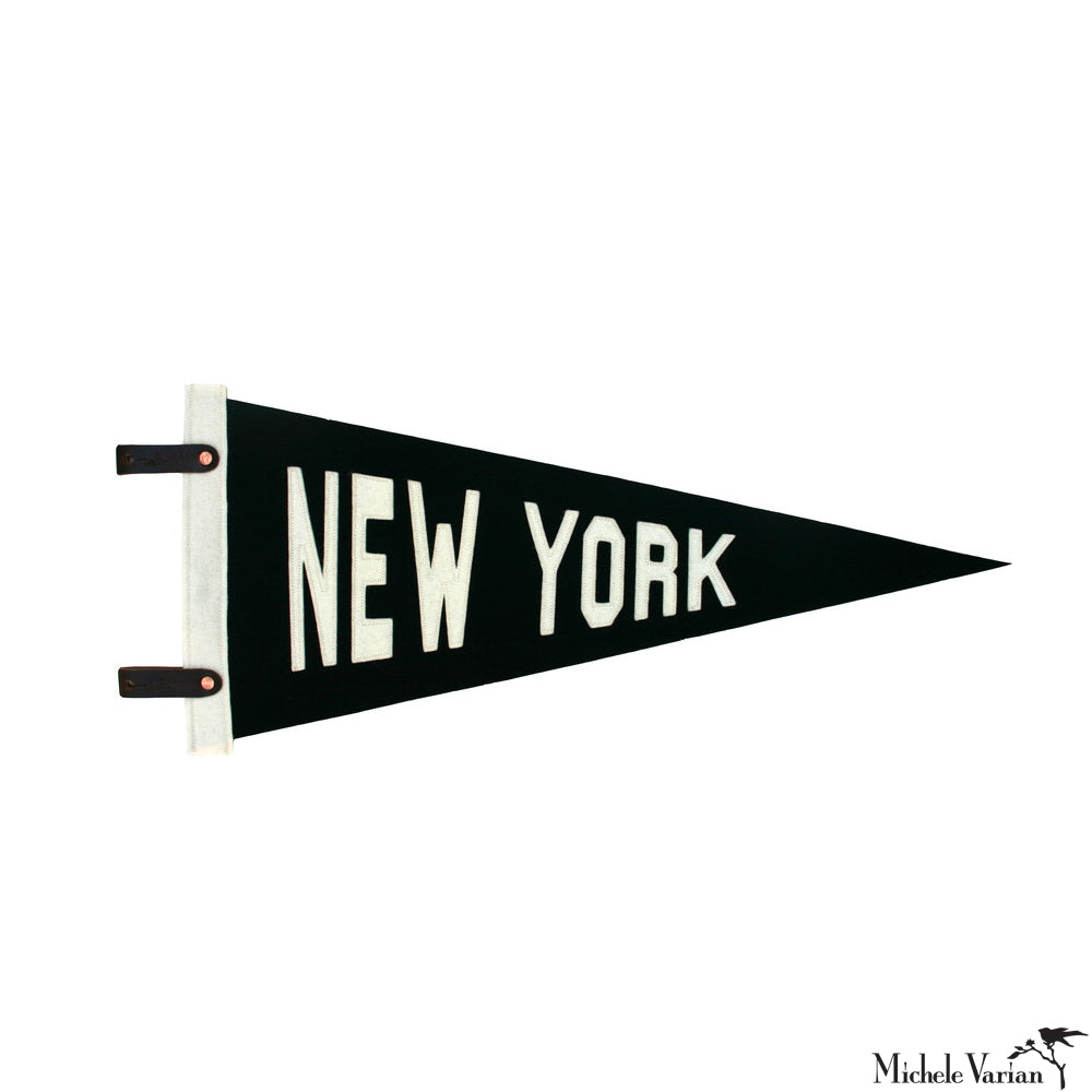 Wool Black and White New York Penant Flag