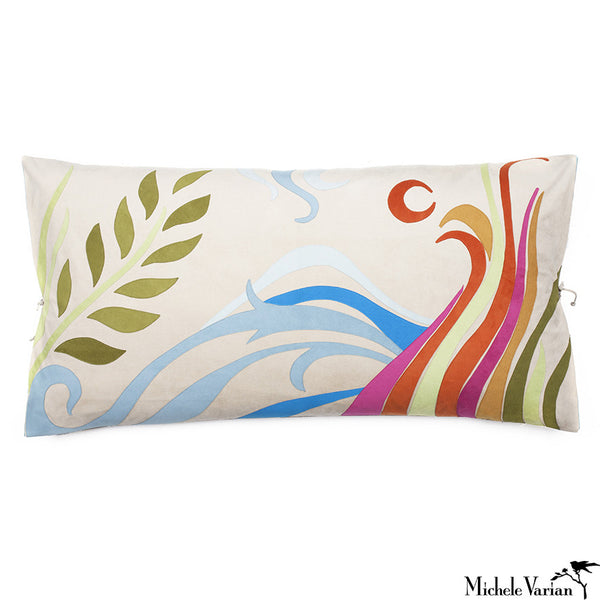Ultra Suede Applique Pillow Nirvana Multi 20x36