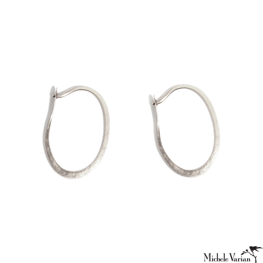 Oval Forged Sterling Silver Hoops