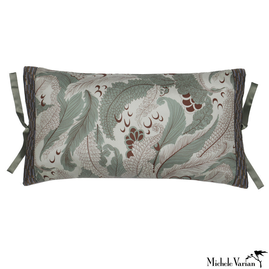 Silk Print Pillow Obi Sage 12x22