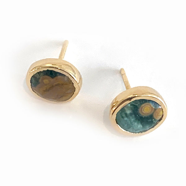 Gold Mismatched Ocean Jasper Stud Earrings