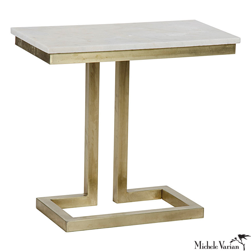 Brass Finish with Quartz Top Side Table