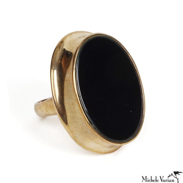 Black Onyx Elipse Brass Ring