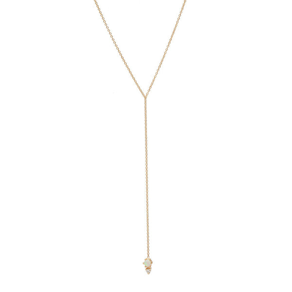 Opal Diamond Lariat Necklace