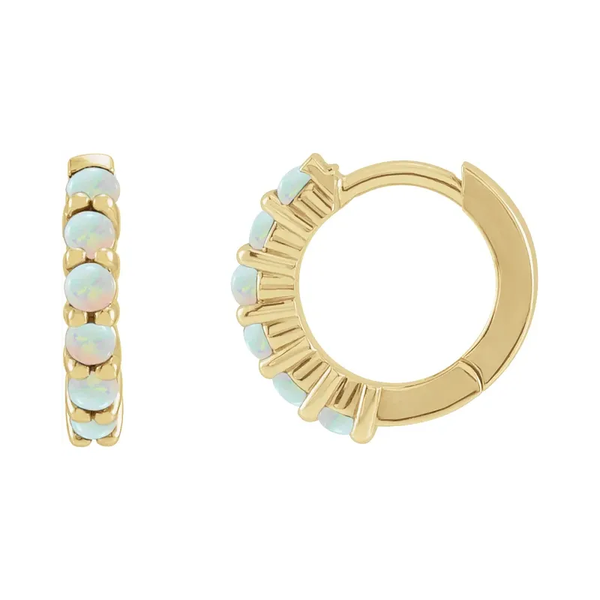 Opal Gold Huggie Hoop Earrings