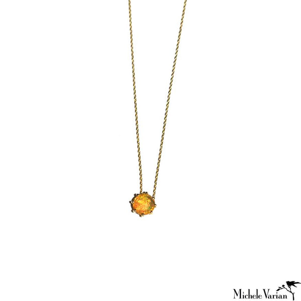 Gold Prong Set Opal Necklace