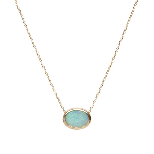 Oval Opal Gold Necklace