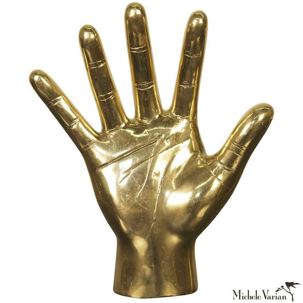 All Five Fingers Open Hand in Brass