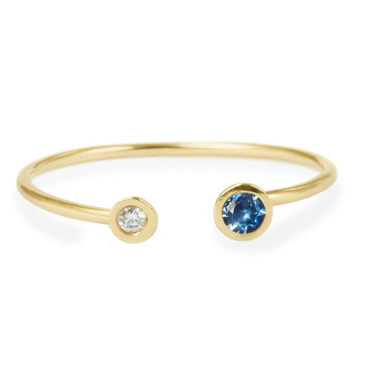 Open Sapphire And Diamond Ring