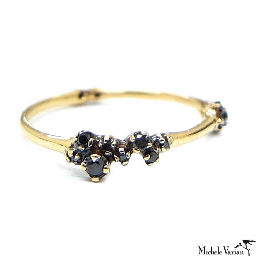 Orbit Black Diamond Cluster Gold Ring