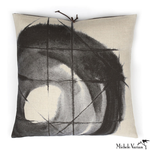 Printed Linen Pillow Orbit Black 20x20