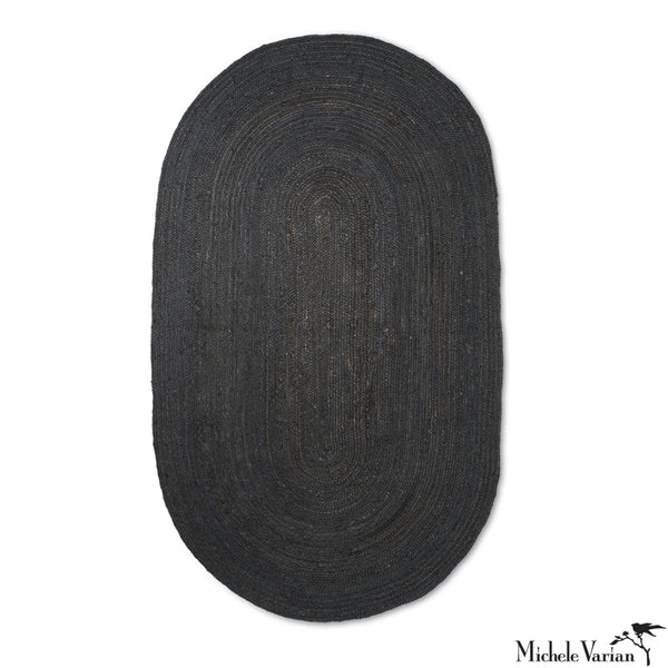 Eternal Oval Jute Rug Black