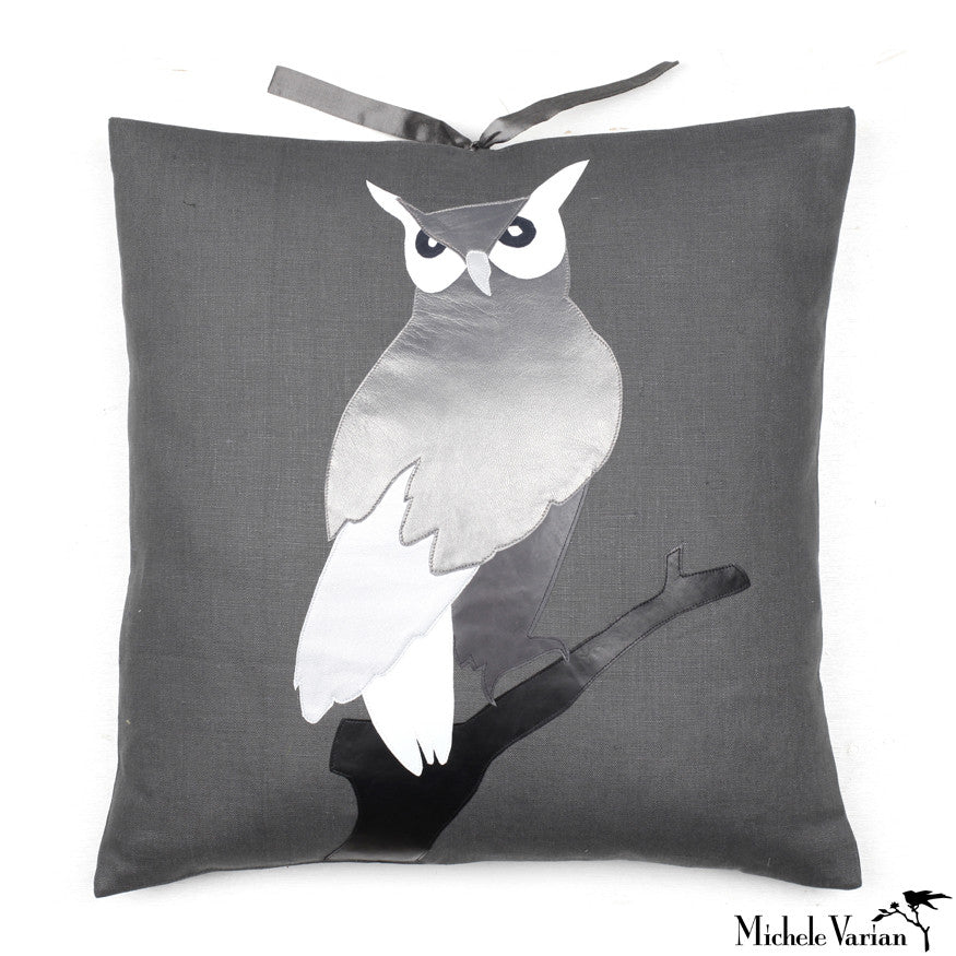Linen Applique Pillow Owl Carbon 20x20