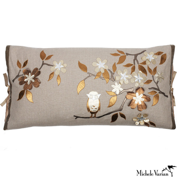 Linen Applique Pillow Owl Tree Natural 20x36