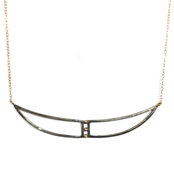 Oxidized Silver and Gold Shield Necklace
