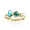 Pearl Emerald Turquoise Ring