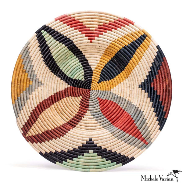 Giant Colorful Abstract Woven Wall Art Plate 27 inch