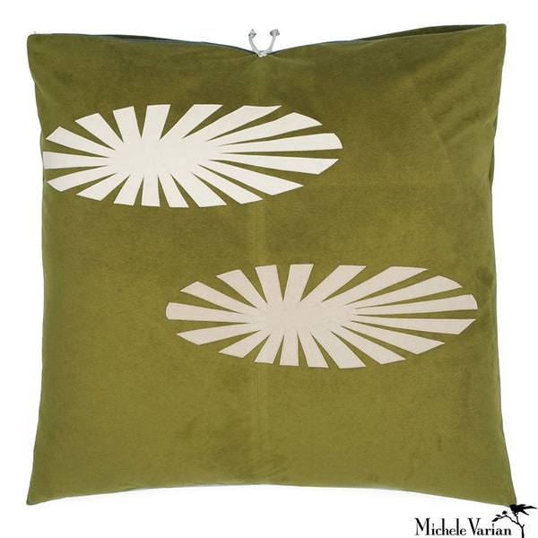 Ultra Suede Applique Pillow Parasol Green 22x22