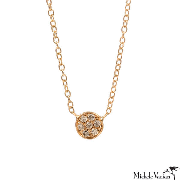 Gold Pave Saucer Necklacce
