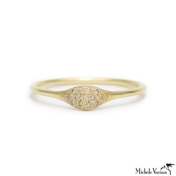 Pave Diamond Gold Wave Ring