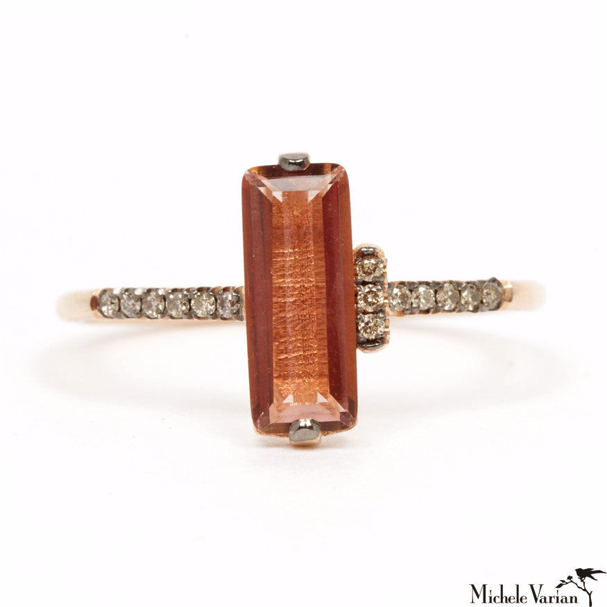 Rose Gold Peach Quartz Baguette Ring