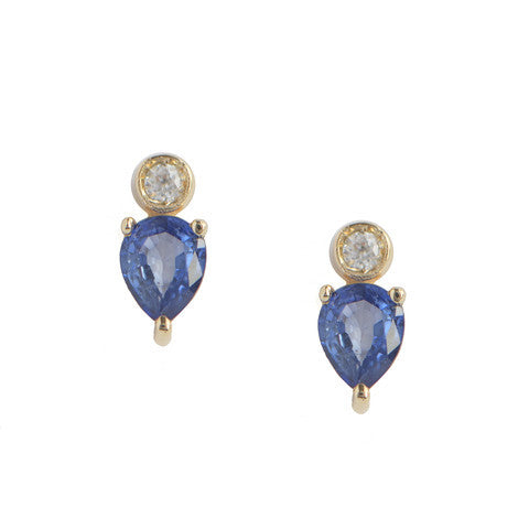 Pear Blue Sapphire Stud Earrings