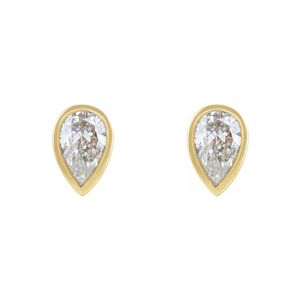 Bezel Set Pear Diamond Stud Earrings