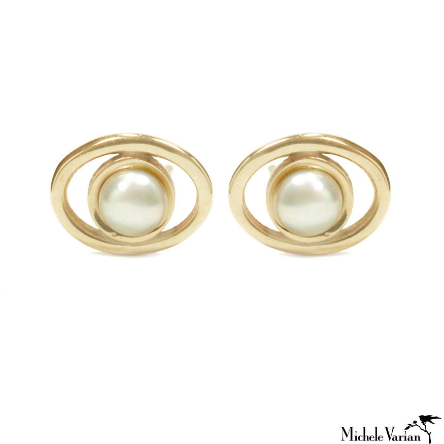 Pearl Orbit Gold Studs
