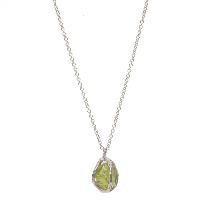 Sterling Silver Peridot Cage Pendant