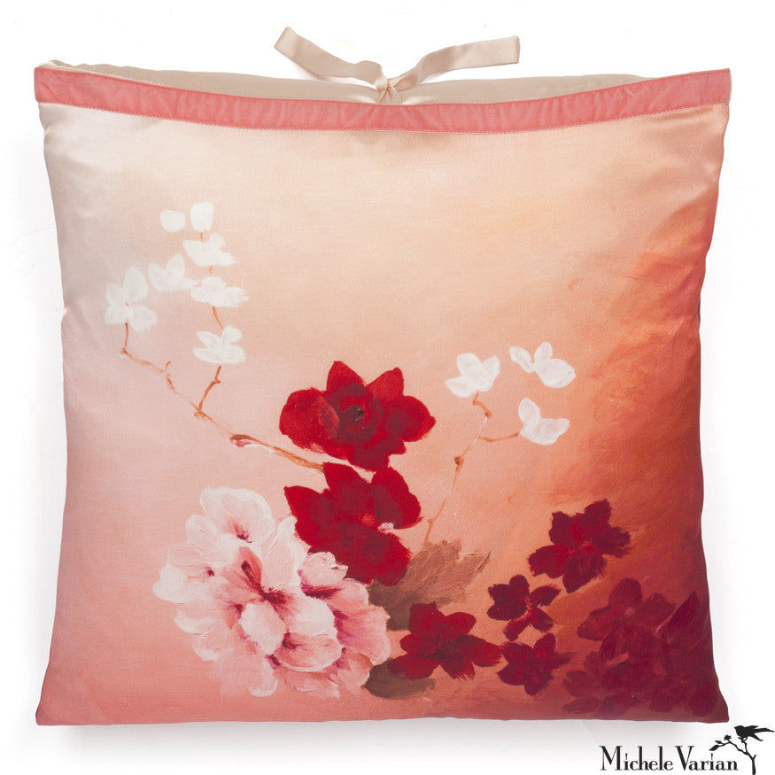 Silk Print Pillow Pink Rose  20x20