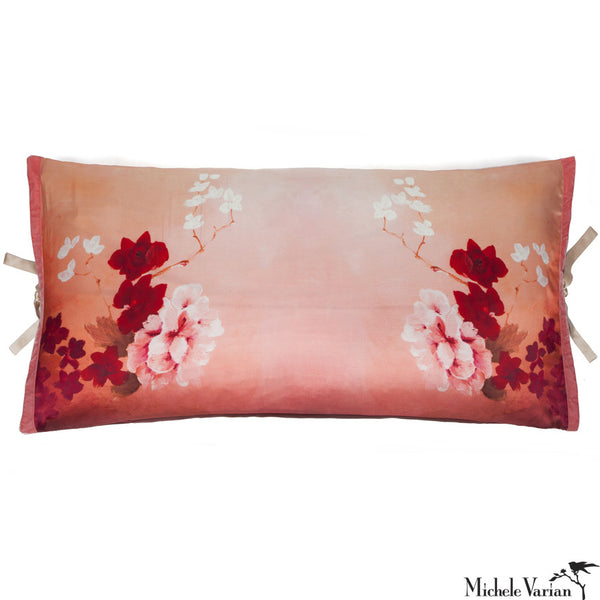 Silk Print Pillow Pink Rose 20x36